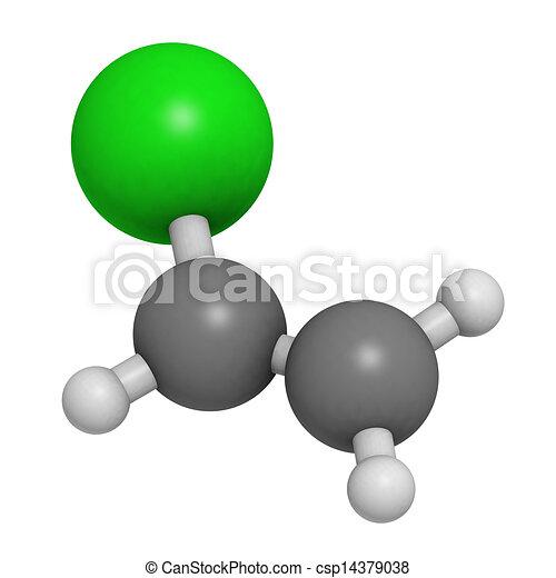 Cloruro de vinilo, cloruro de polivinil (PVC) bloque de construcción de plástico. Los átomos son representados como esferas con código de colores convencional: hidrógeno (blanco), carbono (grey), cloro (verde). - csp14379038