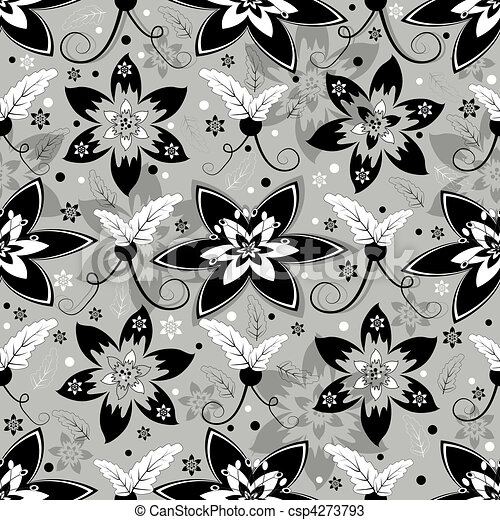 White, grey and black seamless floral pattern - csp4273793