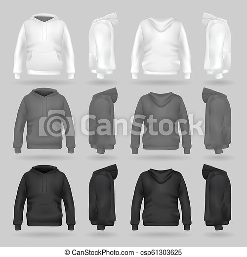 Hoodie Template | White Grey And Black Sweatshirt Hoodie Template In Four Dimensions