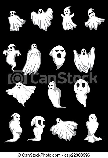 White halloween ghosts and poltergeist on black background,... eps ...