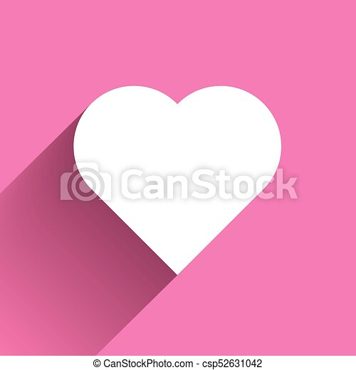 White Heart Long Shadow Icon On Pink Background Symbol Of Love