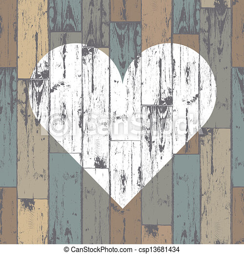 White heart on wooden background. Vector, EPS10 - csp13681434