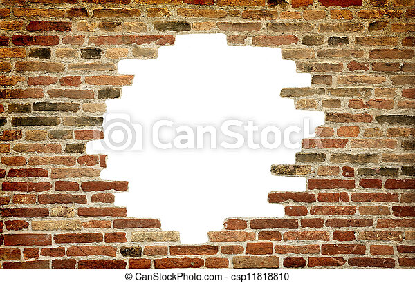 White hole in old wall, brick frame. Old brick wall with white hole ...