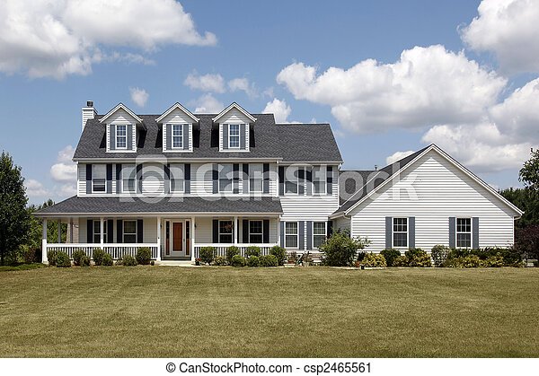 White home with large front yard - csp2465561