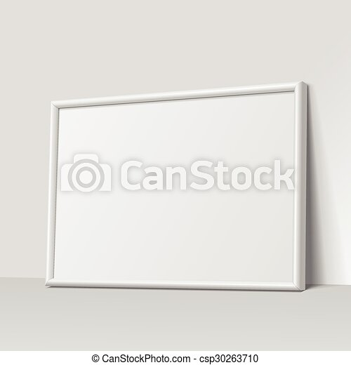 Realistic white horizontal frame for paintings or photographs ...