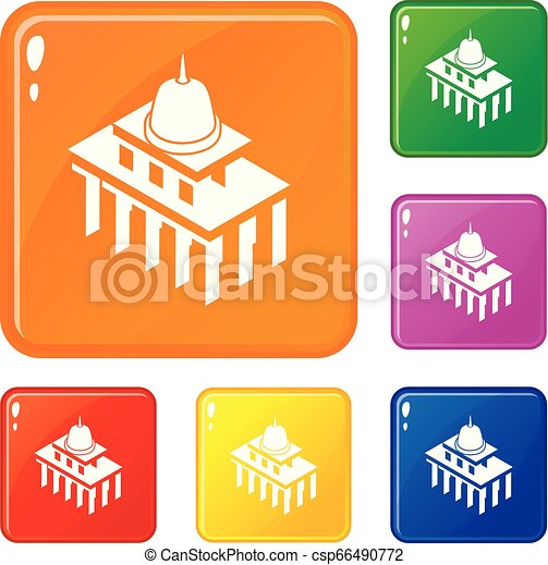 White house usa icons set vector color - csp66490772
