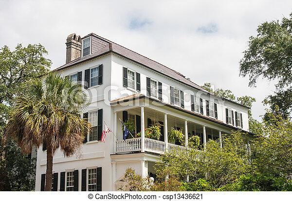 White House with Veranda on Second Floor - csp13436621