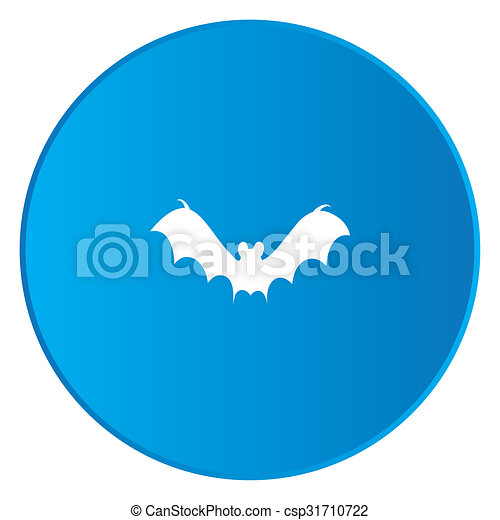 White Icon Isolated on a Blue Button - Bat2 - csp31710722
