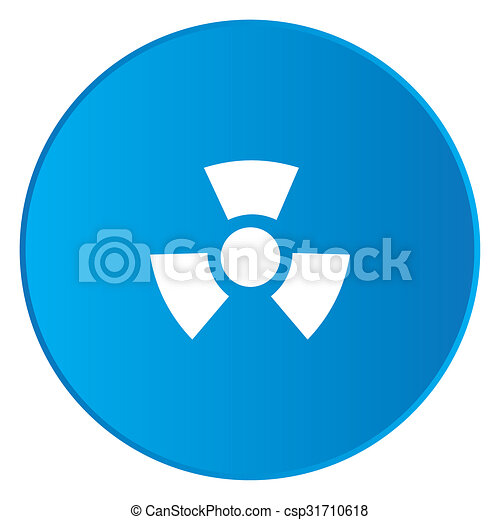 White Icon Isolated on a Blue Button - Radio Active Round - csp31710618