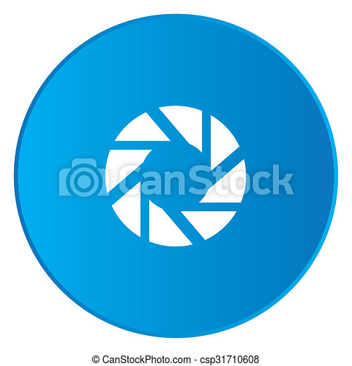 White Icon Isolated on a Blue Button - Shutter - csp31710608