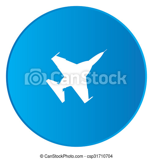 White Icon Isolated on a Blue Button - Fighter Jet - csp31710704