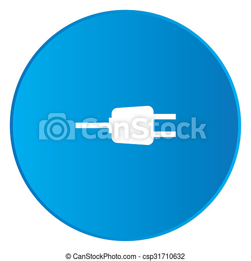 White Icon Isolated on a Blue Button - Plug - csp31710632