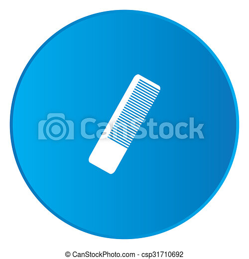 White Icon Isolated on a Blue Button - Hairbrush - csp31710692
