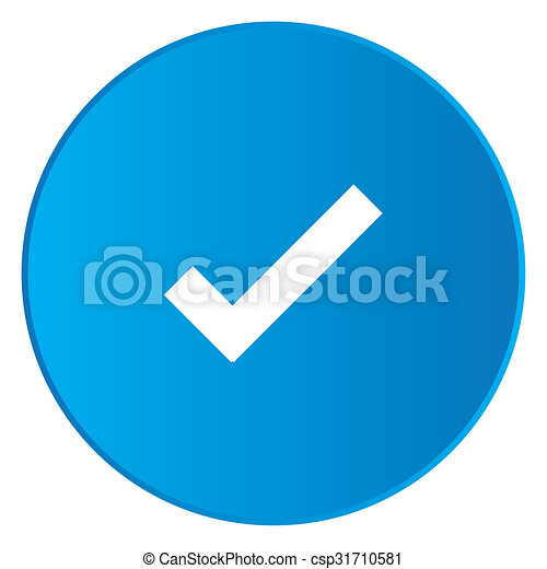 White Icon Isolated on a Blue Button - Tick - csp31710581