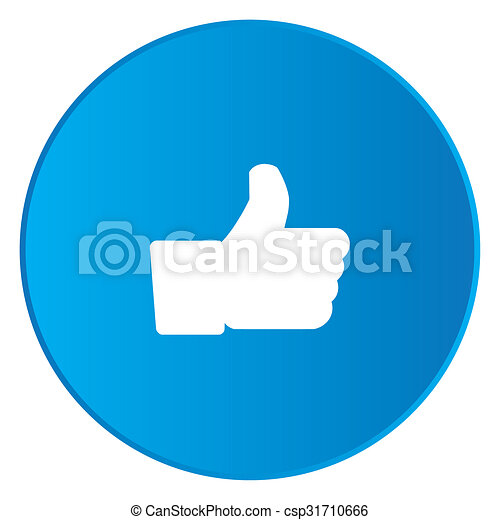White Icon Isolated on a Blue Button - Like - csp31710666
