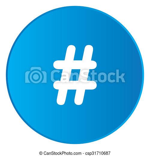 White Icon Isolated on a Blue Button - Hashtag - csp31710687
