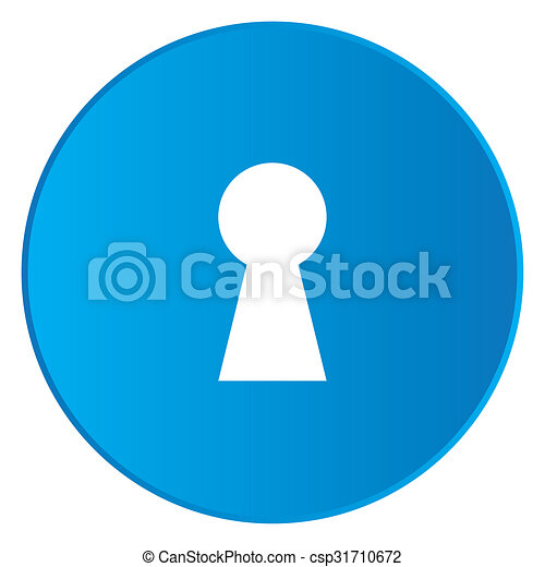 White Icon Isolated on a Blue Button - Keyhole - csp31710672