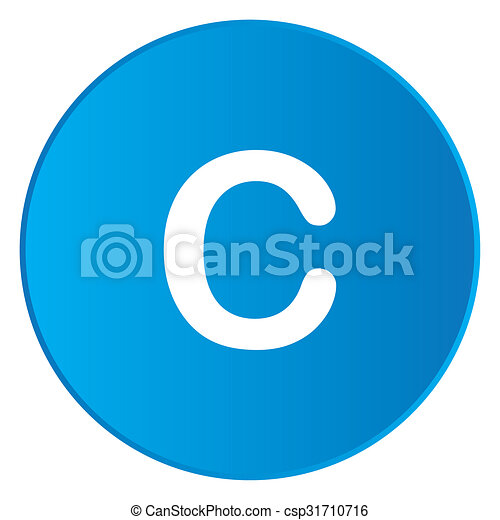 White Icon Isolated on a Blue Button - C - csp31710716