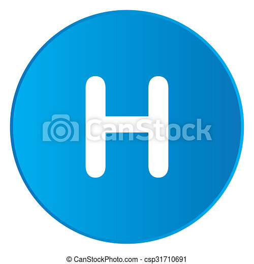 White Icon Isolated on a Blue Button - H - csp31710691