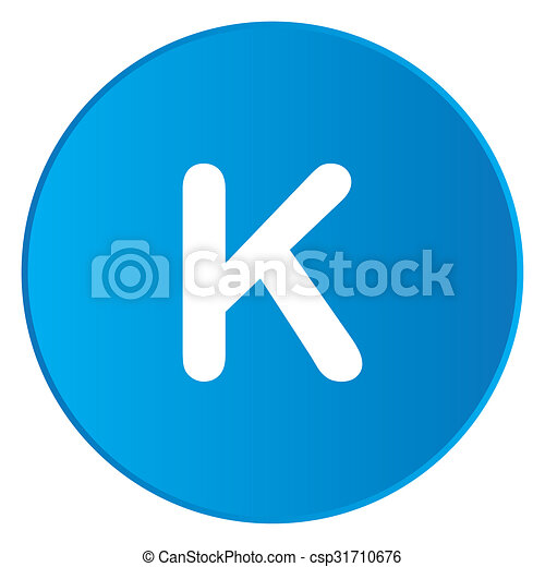 White Icon Isolated on a Blue Button - K - csp31710676
