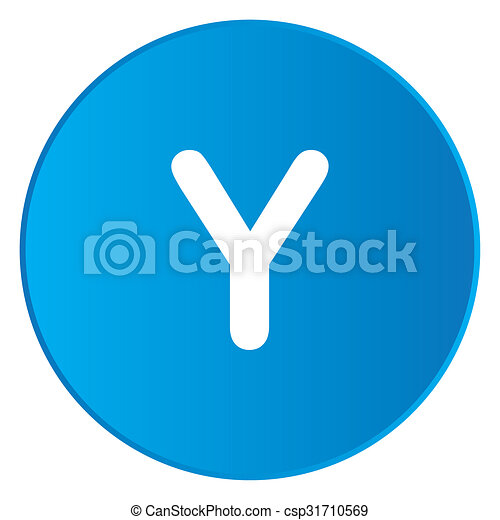 White Icon Isolated on a Blue Button - Y - csp31710569