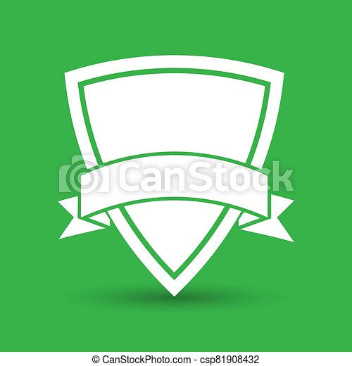white icon of shield with vector ribbon on a green background - csp81908432