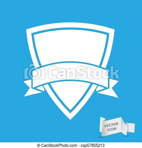 white icon of shield with vector ribbon on a white background - csp57855213
