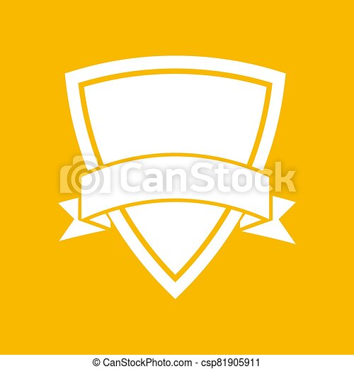 white icon of shield with vector ribbon on an yellow background - csp81905911