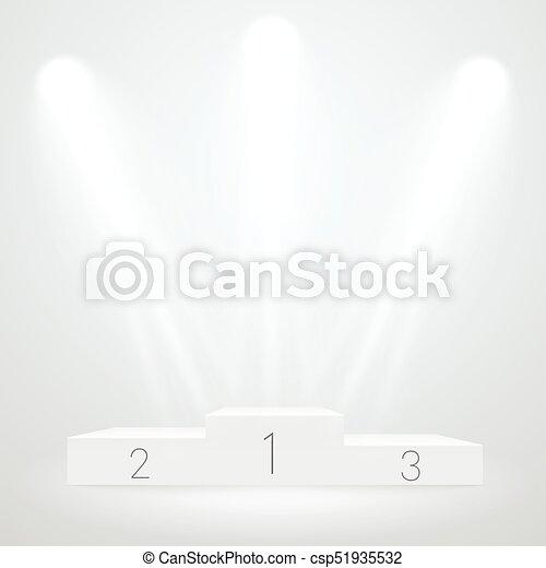 White illuminated sport podium. Vector mockup. Award ceremoty vector template - csp51935532
