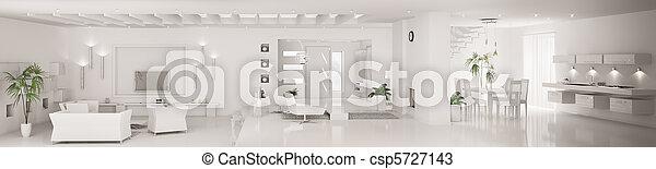 White interior of modern apartment panorama 3d render - csp5727143