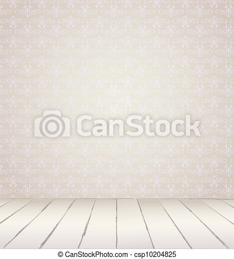White Interior of vintage room from gray grunge wallpaper wall and old wooden floor. Vector illustration eps 8 - csp10204825