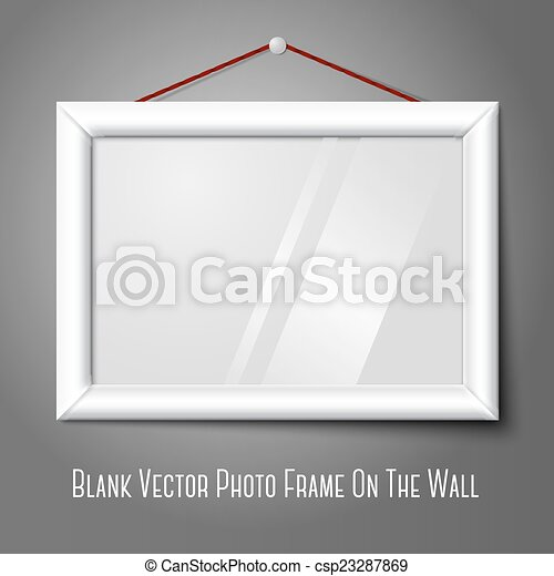 White isolated horizontal photo frame hanging on the wall, with ...