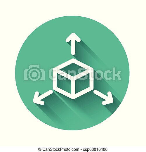 White Isometric cube icon isolated with long shadow. Geometric cubes solid icon. 3D square sign. Box symbol. Green circle button. Vector Illustration - csp68816488