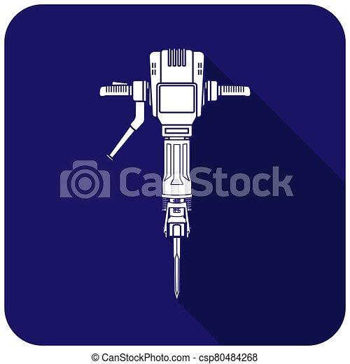 White jackhammer icon on a blue background - csp80484268