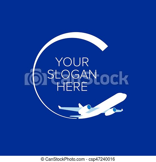 White Jet Airplane At Navy Blue Background