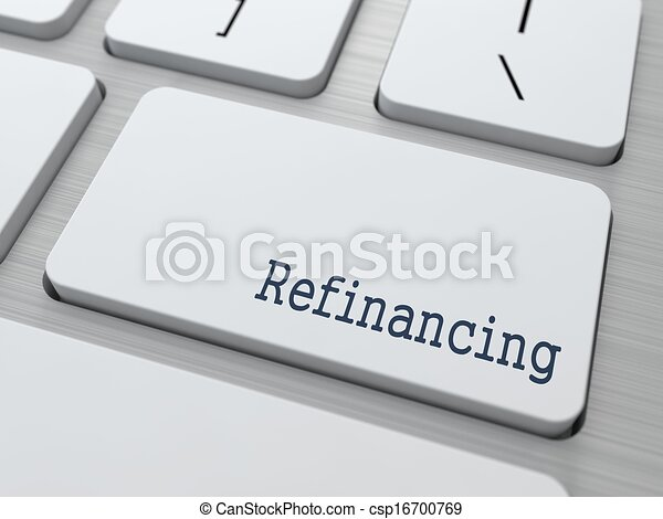 White Keyboard with Refinancing Button. - csp16700769