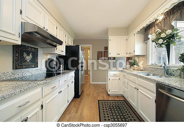 White kitchen in suburban home - csp3055697