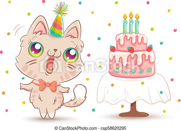 White Kitty In Birthday Hat
