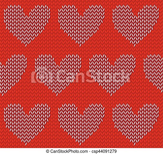 White Knitted Hearts On Red Seamless Textile Pattern White Hearts