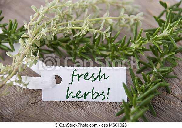 white label with fresh herbs - csp14601028