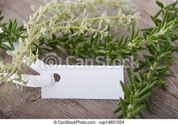 white label with herbs - csp14601024