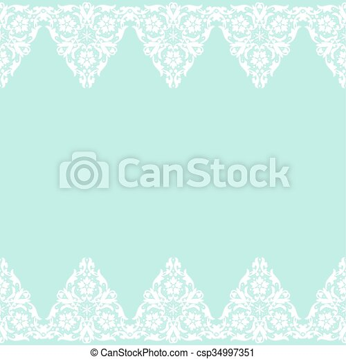 white lace border template for wedding invitation or greeting card