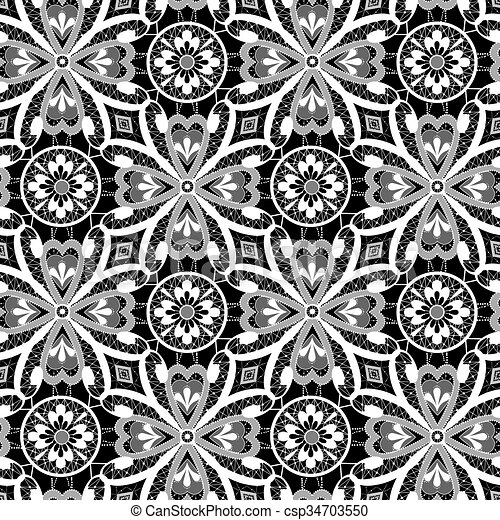 White lace floral seamless pattern on black - csp34703550