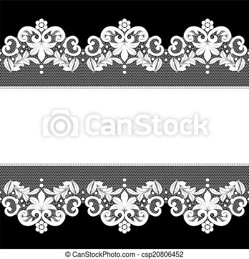 white lace on black background - csp20806452