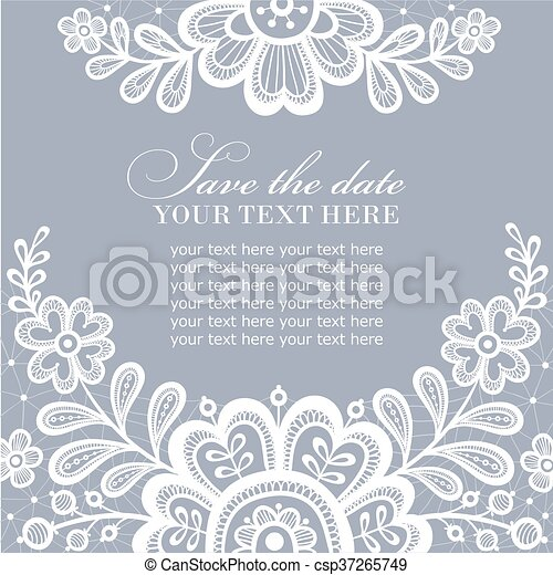 Elegant greeting card or wedding invitation with lace ornament lace elegant greeting card or wedding invitation with lace ornament lace background with a place for text white lace vector design stopboris Images