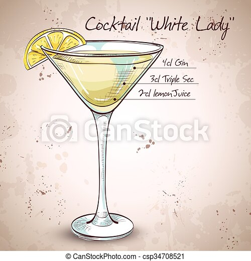White Lady Cocktail - csp34708521