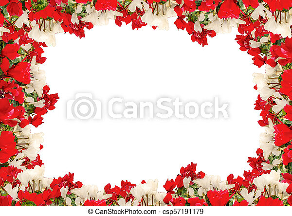 White Landscape Background With Flowers Borders White Frame