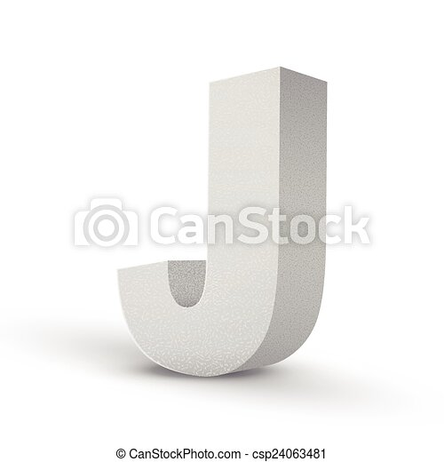 White Letter J Isolated On White Background