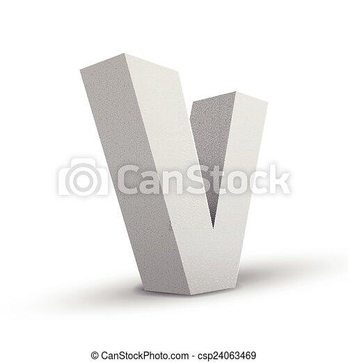 White Letter V Isolated On White Background