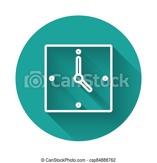 White line Clock icon isolated with long shadow. Time symbol. Green circle button. Vector - csp84888762
